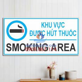 Biển chỉ dẫn khu vực được hút thuốc (Smoking Area) 15x30cm